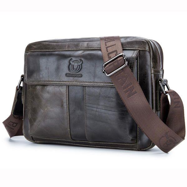 Men Genuine Leather Crossbody Shoulder Bag Business Messenger Bag Coffee Brown - US$49.50
