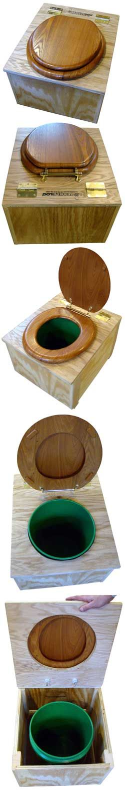 LOVEABLE LOO Eco Toilet, Fully Assembled and Finished | This is an eco-potty for permanent indoor (or outdoor) household use, office, bedroom, camping, shop, garage, barn, or emergency toilet use. No water, electricity, venting, plumbing or chemicals required. Odor-free when properly managed. No urine separation required.