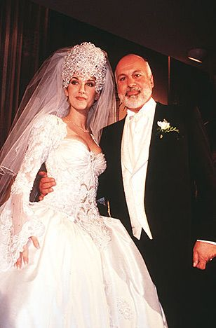 Celine Dion and Rene Angeli.  The singer married her manager on Dec. 17, 1994 at the Notre Dame Basilica in Montreal, Canada while wearing a seven-pound tiara made of 2,000 Austrian crystals, a 20-foot train and a Mirella and Steve Gentile-designed gown that took over 1,000 hours to complete.