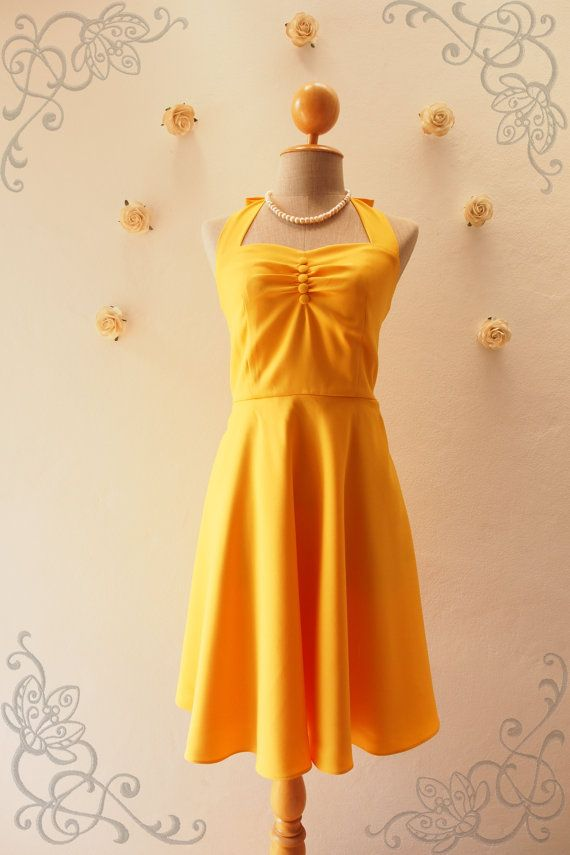 Mustard Dress / Yellow Dress / Mustard Bridesmaid Dress / Vintage Party Dress / Wearable with Petticoat / Swing Skirt XS-XL, Custom