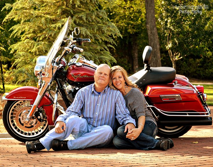 Motorcycle engagement photo