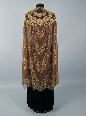 Gold Lace Evening Cape, 1920s1920 S, 1920S Session, Vintage Fashion, Lot 537, Gold Lace, 1920S Outerwear, 1920S Metals, Fashion 1920S, 1920S 50S