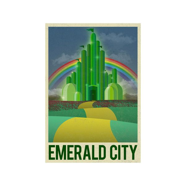 Emerald city retro travel poster poster liked on for Emerald city wall mural