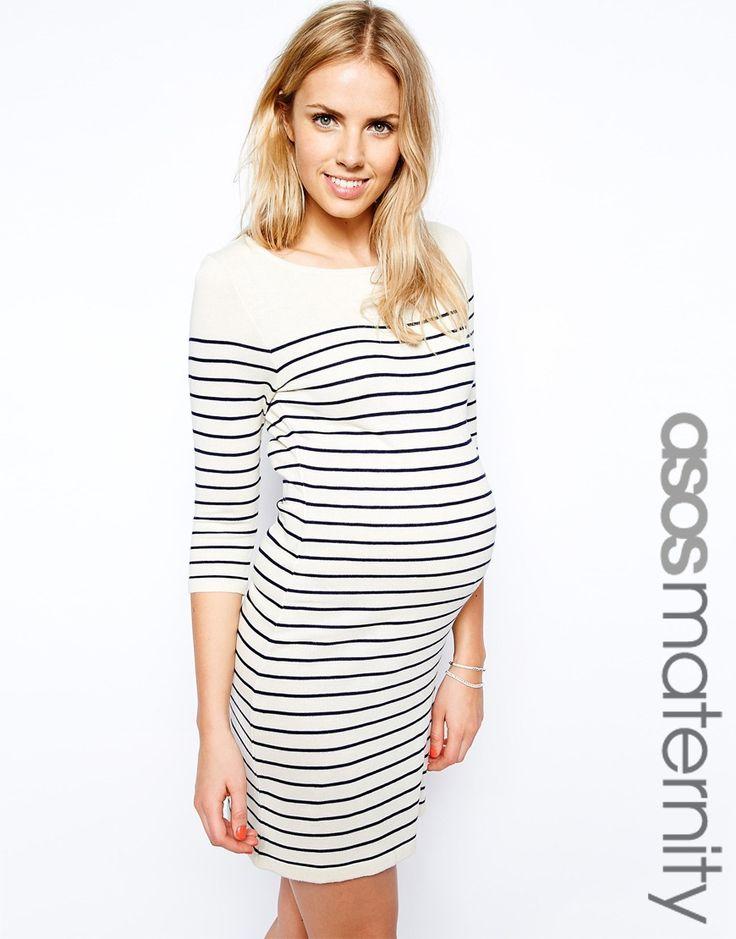 ASOS Maternity Exclusive Jumper Dress In Breton Stripe
