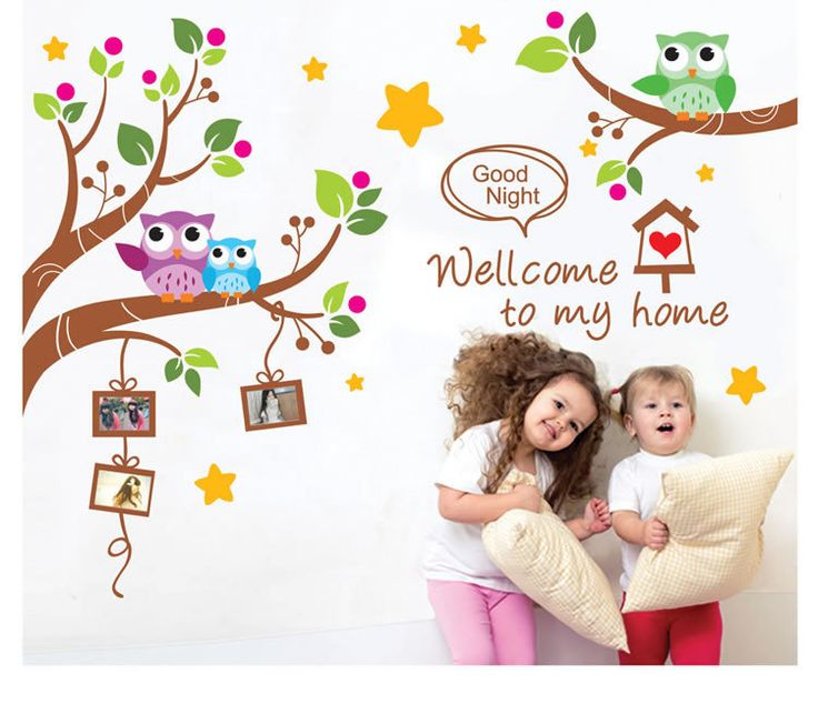 Welcome To My House Owls Family Tree Wall Art Decal Sticker Kids Room  Nursery Wall Decoration Part 96