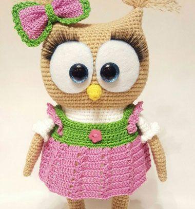 Super cute amigurumi owl - free crochet pattern // Nagy szemű horgolt bagoly kislány - ingyenes amigurumi minta // Mindy - craft & DIY tutorial collection