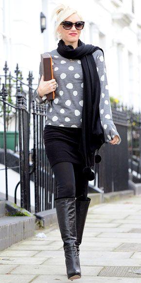 Gwen Stefani in polka-dot sweater, black skirt, black boots, and black pashmina