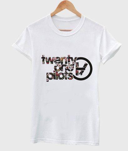 Floral twenty one pilots logo T shirt #tshirt #shirt #cloth #tee #graphictee