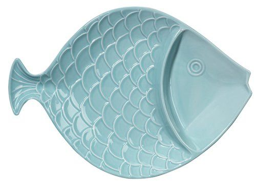 Coastal Shaped Fish Divided Serving Bowl 15 Inch Light Aq...