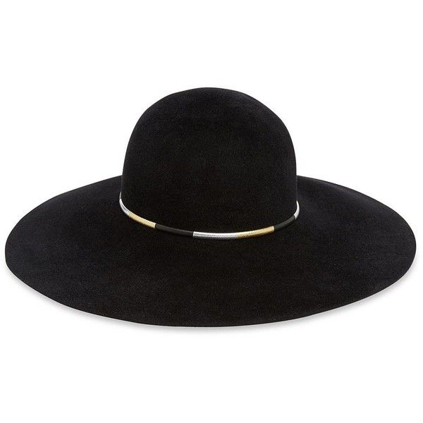 Eugenia Kim Honey Wide-Brim Rabbit Fur Boho Hat ($445) ❤ liked on Polyvore featuring accessories, hats, apparel & accessories, black, floppy brim hat, bohemian hats, wide brim hats, brimmed hat and eugenia kim hats