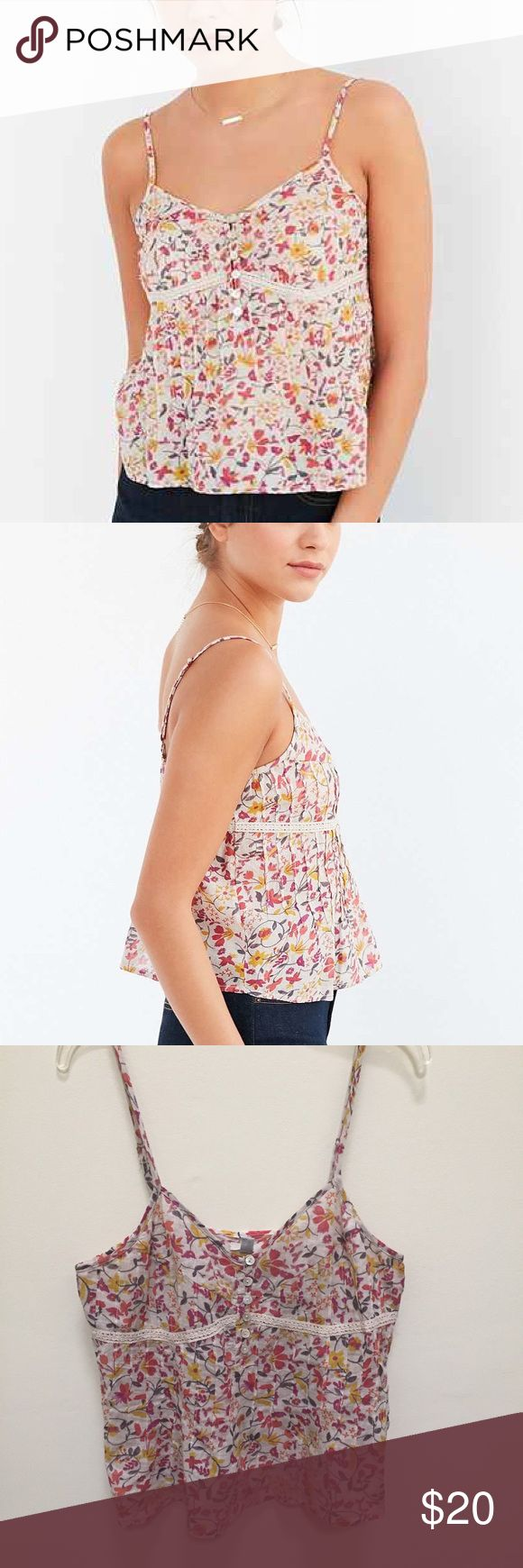🌸🌻Supercute Pincuted Jenni Cami 🌻🌸 🌻Hipster Floral Jenni Cami by Urban Outfitters brand Ecote!🌻 Material: 100% Cotton! Comes with Urban Outfitters gift box! Makes a great gift for your boho flower girl🌺🌸💐🌻 Ecote Tops Camisoles