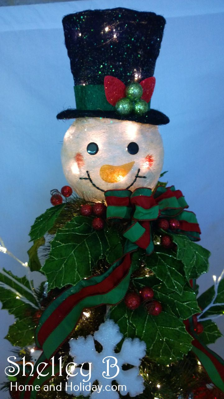 How to make a snowman christmas tree topper - Lighted Snowman Head Christmas Tree Topper