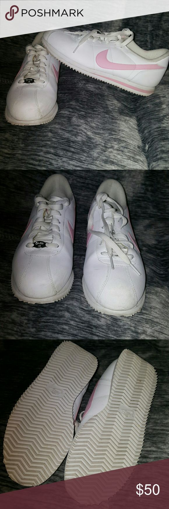 Womens nike cortez Guc size Need a little cleaning but no major damages.  These are white and light pink Nike Shoes Athletic Shoes