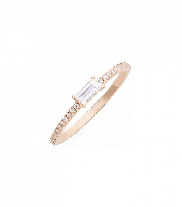 Baguette Diamond Stack Ring by Bony Levy // #Jewelry #Rings