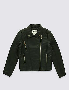 Faux Leather Biker Jacket (3-14 Years)