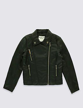 Faux Leather Biker Jacket (3-14 Years)
