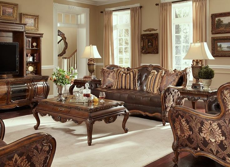 traditional living room furniture stores. lavelle melange traditional leather/fabric wood trim tufted sofa set - aico. formal living roomsliving room furniture stores o