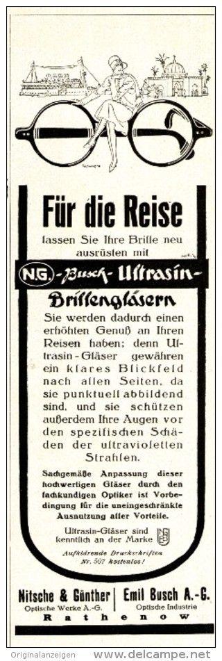 Original-Werbung/ Anzeige 1927 - NITSCHE & GÜNTER/BUSCH RATHENOW - ULTRASIN BRILLENGLÄSER - ca. 65 X 220 mm