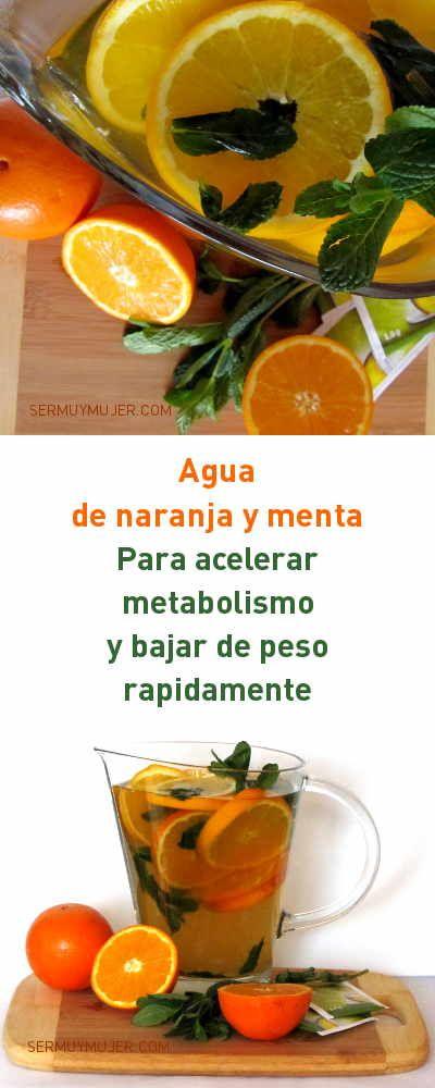 Agua de naranja y menta. Para acelerar metabolismo y bajar de peso rapidamente