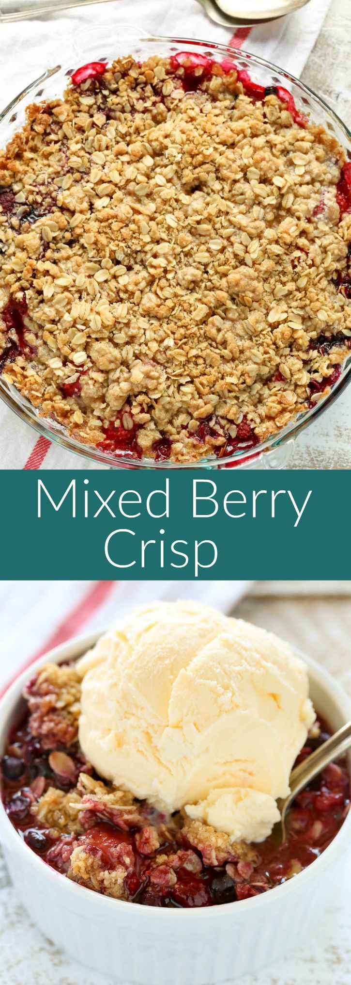 An easy mixed berry crisp that's made with frozen fruit and can be enjoyed all year long!(Bake Face Simple)