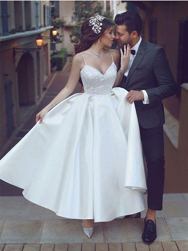 Ankel-längd spagettiband vit satäng spets registret kontor bröllopsklänning