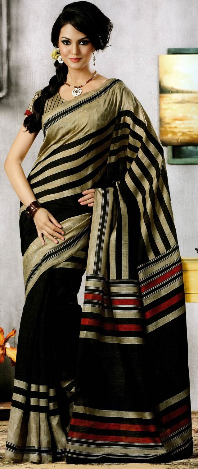 Beige and Black Art Silk Saree with Blouse @ $27.00