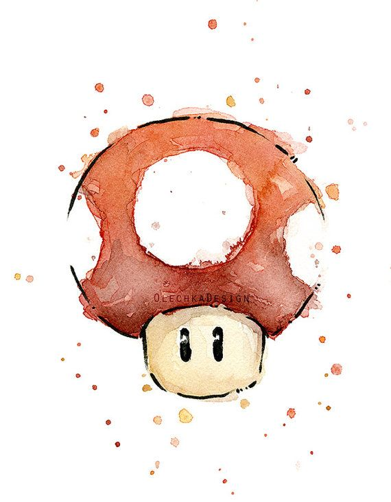 Red Mushroom Watercolor Art Print Geek Videogame by OlechkaDesign
