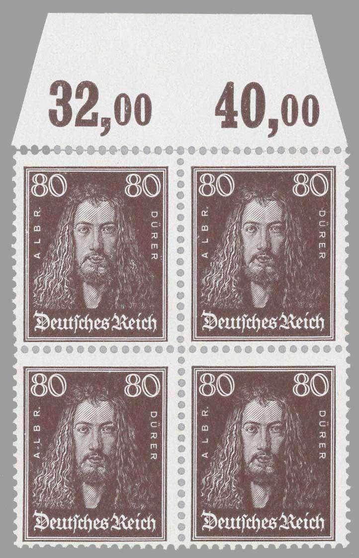 German Empire 1926; Duerer 80 Pfg. brown block of four, mint never hinged from (plates) upper margin. Michel value 2,600.- €.  Dealer Edgar Mohrmann  Auct...