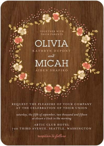 Signature White Wedding Invitations - Retro Wreath by Wedding Paper Divas