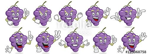 "Download the royalty-free vector ""Grape mascot pack. Vector set of grape character."" designed by ednal at the lowest price on Fotolia.com. Browse our cheap image bank online to find the perfect stock vector for your marketing projects!"