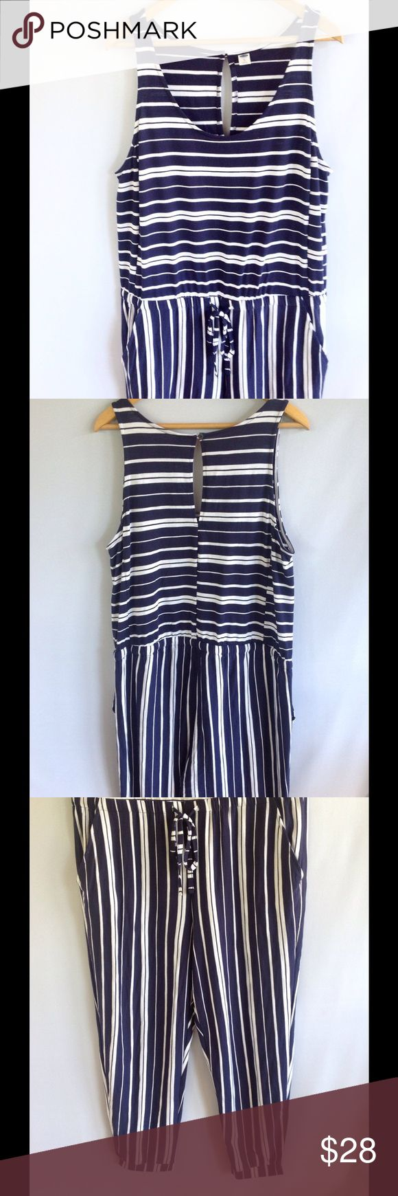 Old Navy - Navy and White Pant Jump Suit / Romper Adorable one piece tank /pant suit /jumper.  Ankle band style. Super cute on! Excellent condition! Old Navy Pants Jumpsuits & Rompers