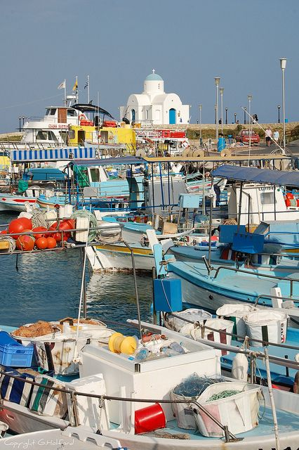 A beautiful little church next to the harbour at Pernera, Cyprus (by Holfo).