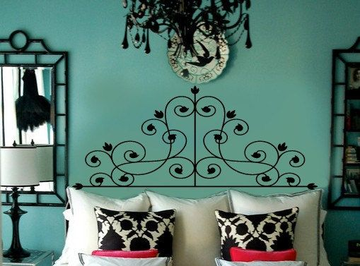 Victorian Swirls Faux Wrought Iron Headboard Vinyl Wall Lettering Decal FULL size. $68.00 via & 16 best Vinyl Wall Art images on Pinterest | Vinyl wall stickers ...