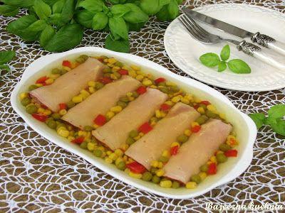 Bajeczna Kuchnia: Roladki z szynki z pastą jajeczną w galarecie