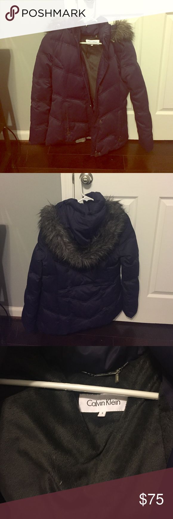 Calvin Klein winter puffer jacket w faux fur hood Purple winter jacket by Calvin Klein. Detachable faux fur hood. Excellent condition and super warm! Great jacket Calvin Klein Jackets & Coats Puffers