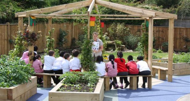 Eco-friendly outside classroom/garden surrounded with raised vegetable gardens that the children tend to for cooking class