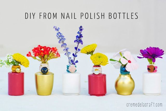 What-To-Make-With-Old-Dry-Empty-Love this idea!!!  Nail-Polish-Bottles-Craft-Project-Idea-Tutorial-Home-Vase-Cheap-Quick-$5
