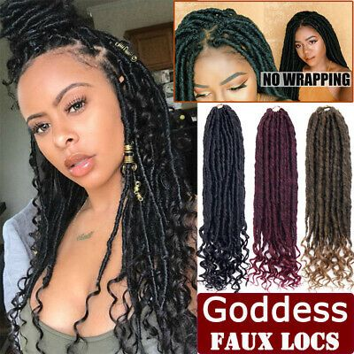 Crochet Goddess Faux Locs Hair Extensions Curly Lock Crochet Braids Bohemian Red…   – Braids