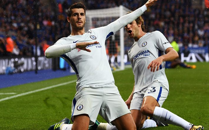 Download wallpapers Alvaro Morata, Spanish footballer, Chelsea, London, Premier League, football, 4k