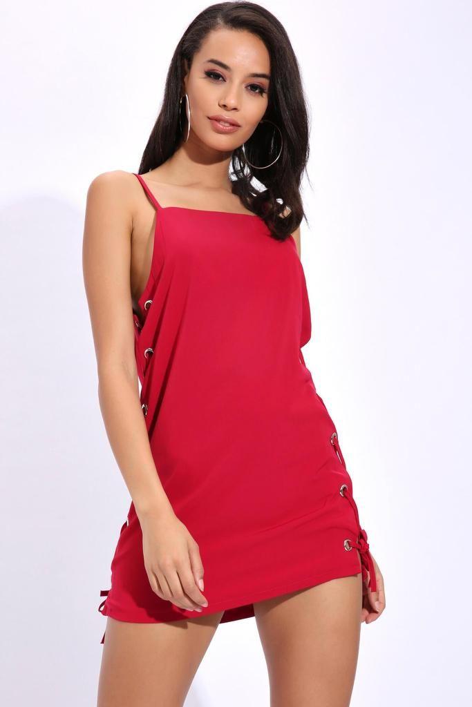 d9232aeb83 Burgundy Tie Up Side Eyelet Shift Dress