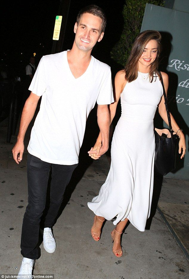 Coordinated couple: Miranda Kerr stepped out for a dinner date at The Ivy in Santa Monica on Sunday with boyfriend Evan Spiegel