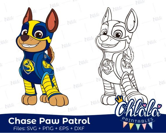 Chase Paw Patrol Mighty Pups Clipart Character Movie Svg Png Eps