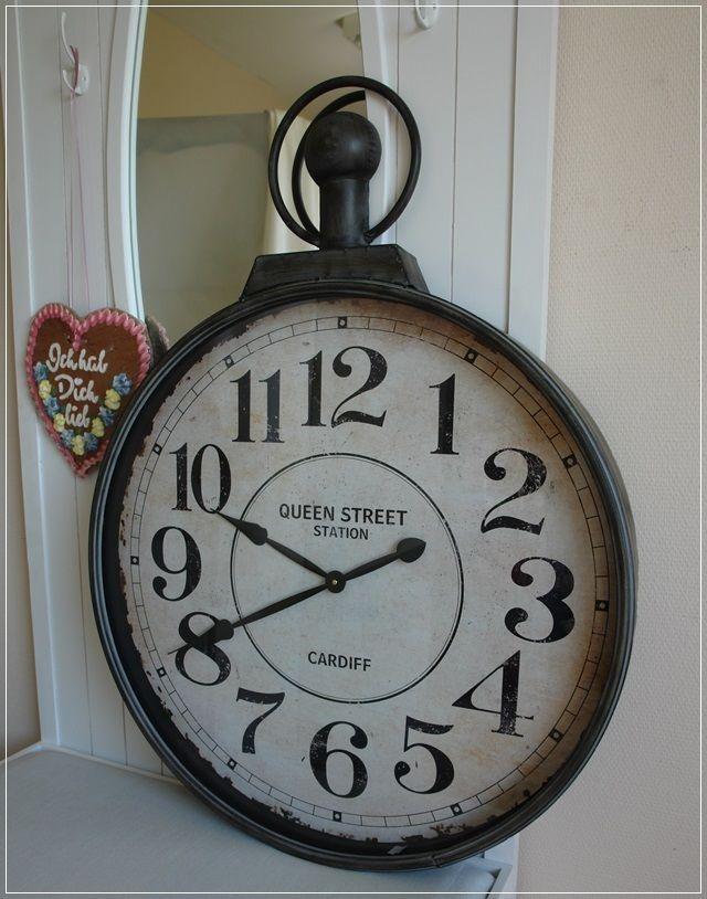 Wanduhr Uhr Grau Metall Format Taschenuhr XXL D73cm Landhaus Wohnzimmer NEU