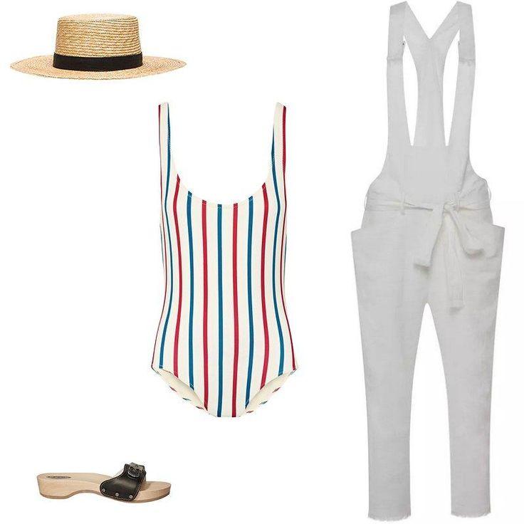 Janessa Leone Klint Hat, Isabel Marant jumpsuit in white, Dr. Scholl's original sandal, Solid & Striped swimsuit