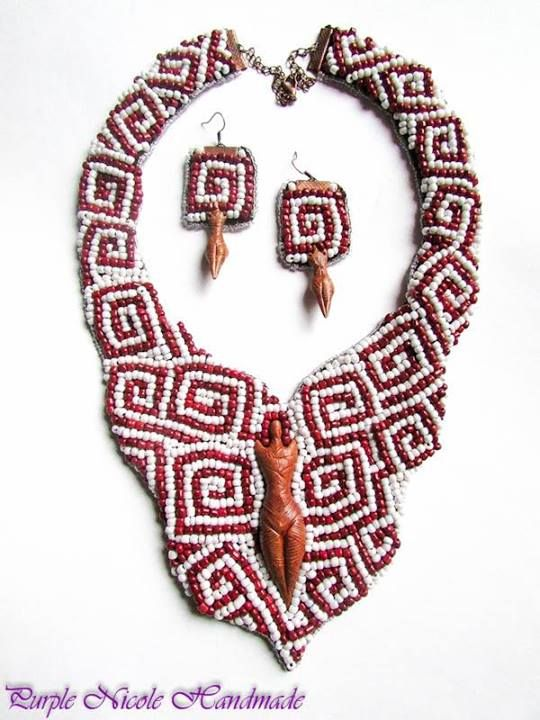 Memories From Blood - Handmade Statement Necklace by Purple Nicole (Nicole Cea Mov). Materials: colored small glass beads, clay figurines. Inspored by one of the oldest European cultures found on Romanian and Ukranian teritory: Cucuteni-Trypillian 4800 to 3000 BC.