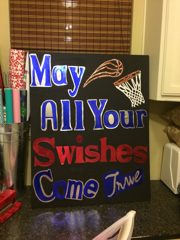I made this sign for my highschool cheer tryouts and I must say that I am very proud!  May all your swishes come true!