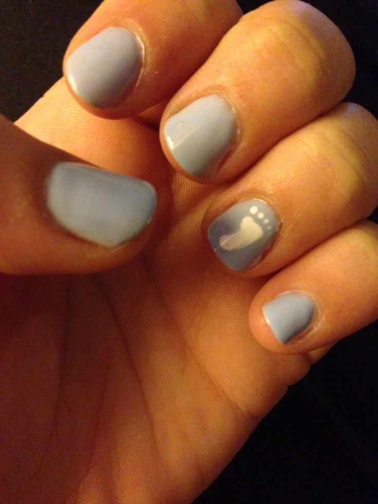 Baby boy baby shower nails so cute!! Baby blue @Devra Witzel you could do this for your nails for the shower to