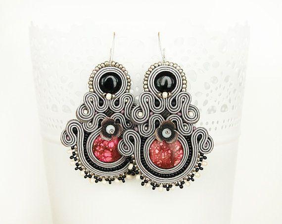Grey dangle soutache earrings long grey earrings large by pUkke