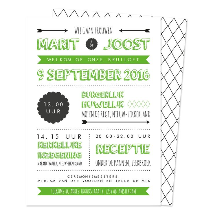NIEN // Stoere, typografische trouwkaart met als themakleur (je raadt het al): groen!