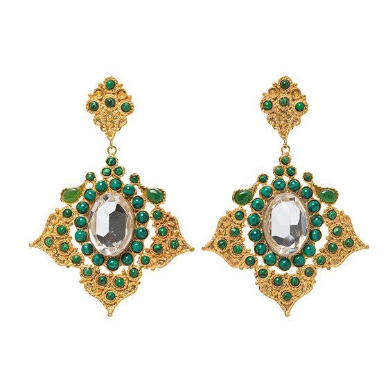 Milonia Earrings Gold & Green. Christie Nicolaides